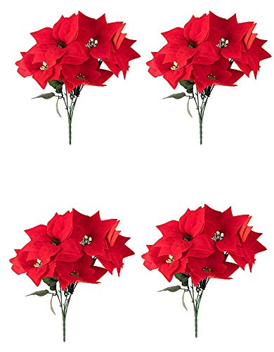 Red Poinsettia Christmas Decorations - 4-Pack Decorative Flowers Stem, Artificial Plant Christmas Tree Ornament Home Office Decoration