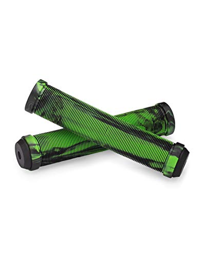 25NINE Ronin Grip Without Flange - Flangeless BMX Bike and Scooter Handlebar Grips with End Plugs - Green/Black