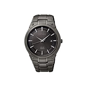 41esNNg0FOL. SS300  - Seiko Men's Black Ion Finish Solar Calendar Dress Watch