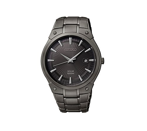 Seiko Men's Black Ion Finish Solar Calendar Dress Watch