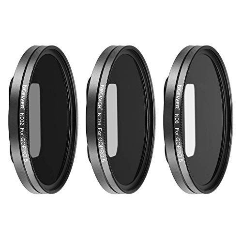 Neewer Multi-coated Lens Filter Kit for GoPro Hero 7, Hero 6, Hero 5 Includes ND8, ND16, ND32 Filters with 3 Lens Caps; Made of Aluminum Alloy Frame and HD Optical Glass