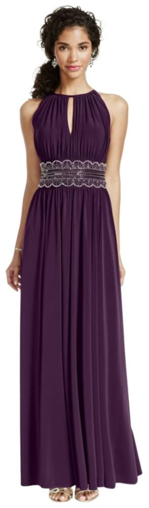 Sleeveless KeyHole Beaded Waist Jersey Dress Style 1298, Eggplant, 4