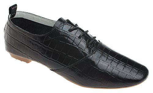 Annakastle Scarpe Basse Oxford In Pelle Morbida Stringate Nere Croc
