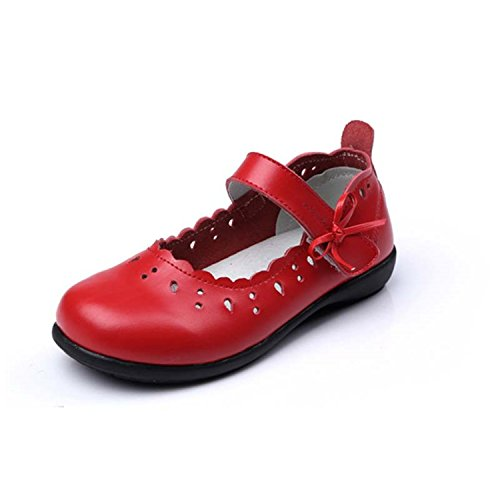 Genuine Leather Children Girls Shoes Princess Hollow Out Sneaker Bow Soft Sole Kids Girls Flats Red 2.5
