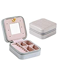 Jewelry Box for Women Girls Portable Earrings Necklace Jewelry Organizer Case with Mirror
