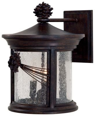 The Great Outdoors GO 9153 3 Light Outdoor Wall Sconce from the Abbey Lane Colle, Iron Oxide