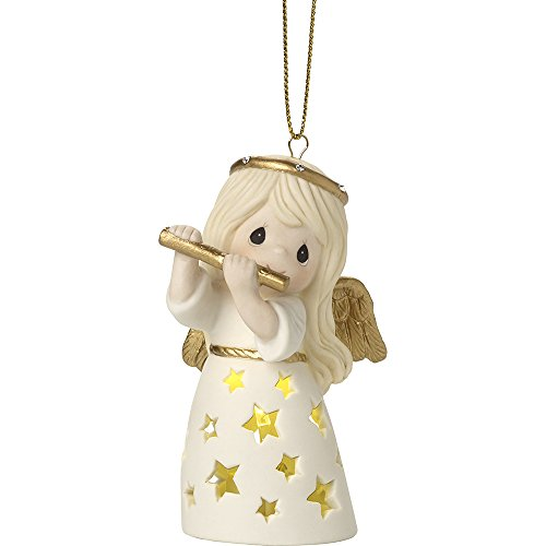 (Precious Moments Make A Joyful Noise LED Lighted Angel With Flute Bisque Porcelain Ornament 171024)