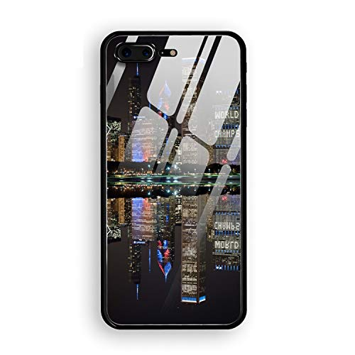 Hard Rigid Tempered Glass Back Cover Compatible for iPhone 8 Plus,Chicago's Championship Skyline Back Glass Plastic Interior Anti Slip TPU Silicone Bumper Case Compatible for iPhone 8 Plus
