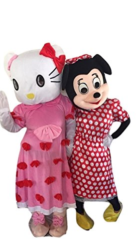 Hello Kitty Bow Minnie Mouse Red Characters Costume Mascot Adult Size For Birthday Boy or Girl Birthday Party Event Halloween (Disfraz De Halloween De Minnie Mouse)