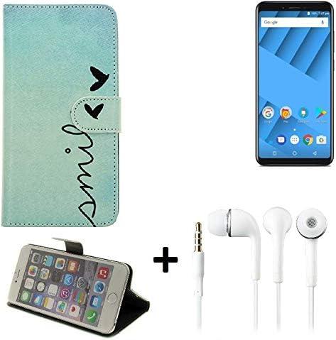 K-S-Trade 360° Funda Smartphone para Vernee M6, Smile + Auriculares   Wallet Case Flip Cover Caja Bolsa Caso Monedero BookStyle: Amazon.es: Electrónica