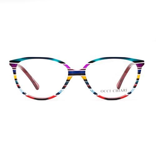 7aa67d855fa OCCI CHIARI Women Red Oval Striped Non-Prescription Eyeglasses With Clear  Lens (Red