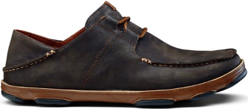 OLUKAI 'Ohana Lace-Up Nubuck Shoe - Men's Dark Wood/Toffee 9.5 ()