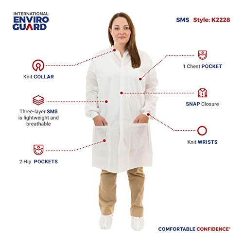 International Enviroguard Disposable White SMS Lab Coats | Medical | Dental (3 Pockets, Knit Wrist) (Medium, Case of 50) by International Enviroguard (Image #3)