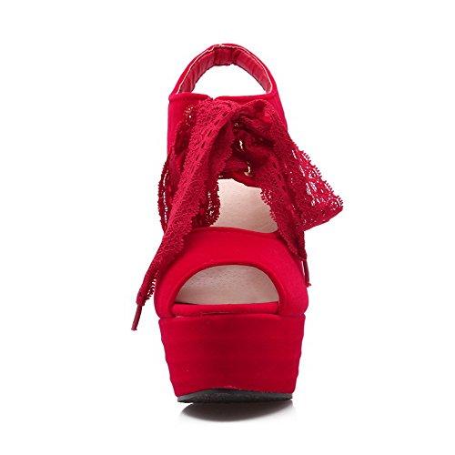 AalarDom Mujeres Sólido Gamuza(Imitado) Tacón ancho Peep Cordones Sandalia Rojo