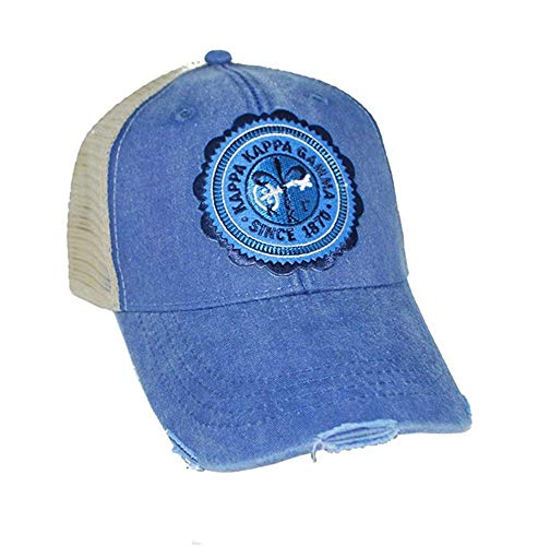 Greekgear Kappa Kappa Gamma Seal Patch Trucker Hat Royal/Tan