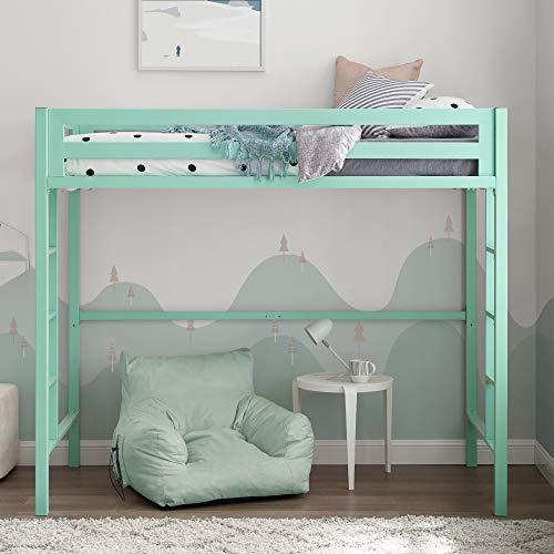Walker Edison Furniture Company Metal Twin Loft Bunk Kids Bed Bedroom Storage Guard Rail Ladder, Mint