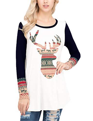 Motif Casual Spécial Col Large Femme Sport Confortable Sweatshirts Noël Marine Imprimé Mode Chemises Manches Style Automne Sweat Renne Stylés Bleu Rond De Chemise À Longues Yw7AUqq