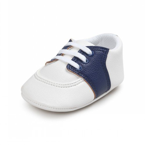 Boys Saddle Shoes (Fire Frog Baby Saddle Shoes for Boys Girl Infant Lace-up Sneakers Dark Blue 6-12)