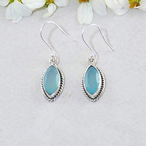 Sivalya 2.00 Ct Marquise Natural Peruvian Opal Earrings in 925 Sterling Silver - Genuine Gemstone Solid Silver French Hook Dangle Earrings 1.25
