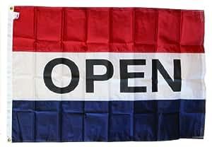 Open - 2' x 3' Nylon Message Flag (Red/White/Blue)