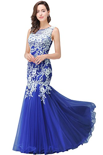 Women Lace Mermaid Evening Gown Long Formal Dress Royal Blue Size 16
