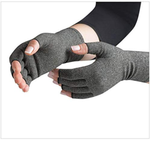 (A Pair Copper Compression Gloves Carpal Arthritis Joint Pain Promote Circulation Comfortable Fingerless Flexible Gloves (Gray,L))