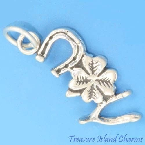 Good Luck Horseshoe Clover Wishbone 925 Solid Sterling Silver Charm Pendant Crafting Key Chain Bracelet Necklace Jewelry Accessories Pendants