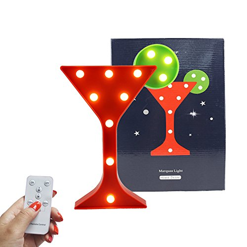 DELICORE Light Up Wine Martini Cocktail Cup Shaped Marquee Sign Decorative Night Light with Remote Timer Dimmable For Home Bar Club Decoration
