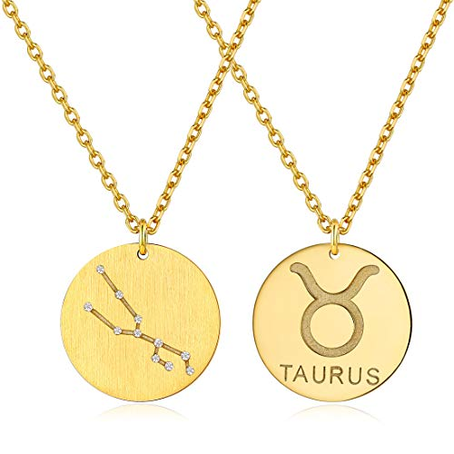 "18K Gold Plated Sterling Silver Astrology Constellation Horoscope Zodiac Round Disc Necklace 18-20""-Taurus"