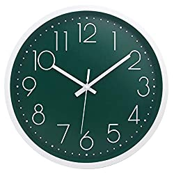 MOD CLOX Modern Wall Clock Non-Ticking Sweep Movement Battery Operated Clocks Decorative Living Room/Bedroom/Office/Kitchen 12 Inch Dark Green