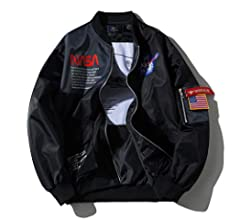 HBHHB Chaqueta NASA Ma-1 Impresi/ón Cierre De Cremallera Jacket Sporty Bomber Suelto Casual para Abrigos Espesar Modelos De Pareja