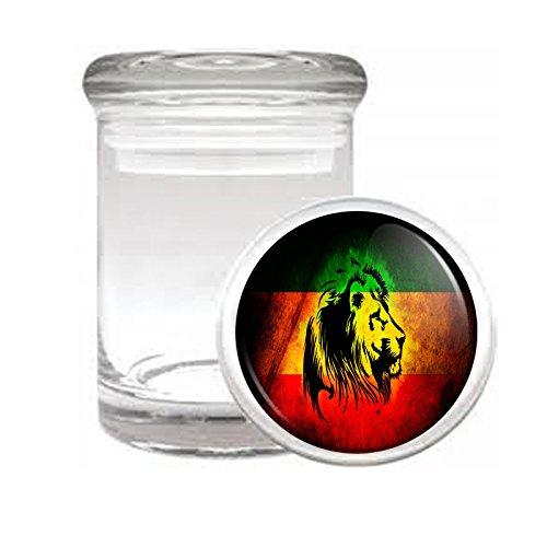 Medical Glass Stash Jar Rasta S2 Air Tight Lid 3'' x 2'' Small Storage Herb & Spices Reggae Lion Jamaican Colors 420 Leaf