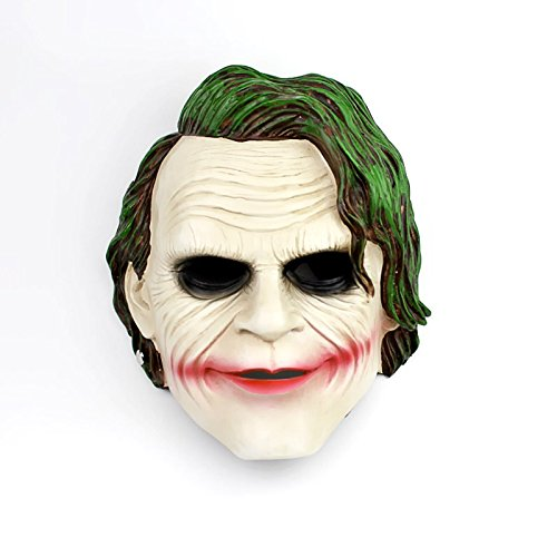 TTXST Halloween Mask Clown Mask Horror Mask Dark Night Knight Resin Green Hair COS Mask Dress Up Personality Props Masks