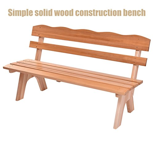 Garden Patio 3 Seats Wooden Bench Outdoor Porch Deck Backyard Park Furniture Simple Solid Wood Design Chairs - Outlet Jersey Garden Nj
