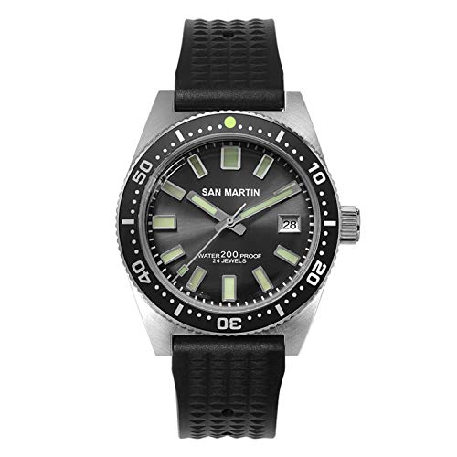 Crystal Sapphire Water Resistance - San Martin 62MAS Men's Automatic Diving Watch Sapphire Crystal 200m Water Resistance Stainless Steel Case Silicone Strap