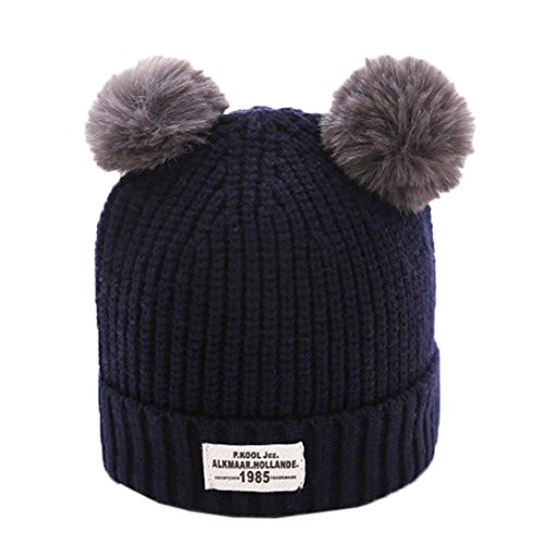 GBSELL Mom And Baby Winter Knitting Keep Warm Hat Sport Cap (Navy 2017)