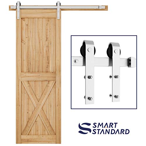 (5ft Heavy Duty Sturdy Stainless Steel Sliding Barn Door Hardware Kit -Smoothly and Quietly -Easy to Install -Includes Step-by-Step Installation Instruction Fit 30