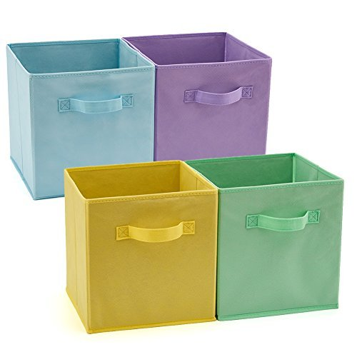 (EZOWare Set of 4 Foldable Fabric Basket Bins, Collapsible Storage Cube for Nursery Home and Office (10.5X 10.5 x 11 inch) (Assorted Color))