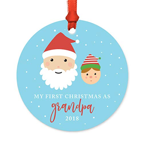 Andaz Press Family Round Metal Christmas Ornament, My First Christmas As Grandpa 2019, Santa and Mrs. Claus with Elf, 1-Pack, Includes Ribbon and Gift Bag -  APP12135