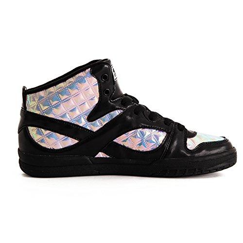 Womens Gotta Flurt SLAM III Iridescent 3/4 High Top Dance Sneaker Black/Purple 7.5