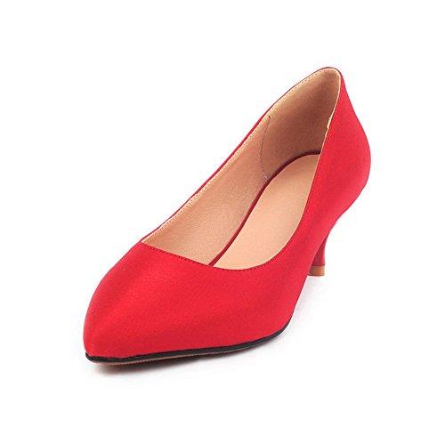 punta suave estrecha Material sólidas Bombas Tacones Mujeres VogueZone009 Rojo bajos Tela 5q07nR