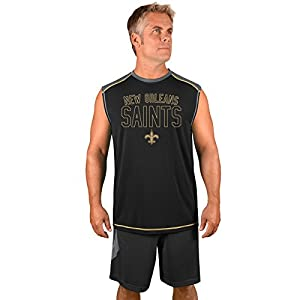 NFL New Orleans Saints Adult men NFL Plus S/Synthetic Muscle,3X,Stormgrey/Black
