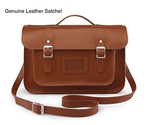 Crossbody Brown 15 inch Actlure Back 100 To Leather Bag Satchel Genuine School wPqtxq7Rn