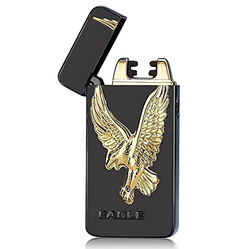 Cross Arc Lighter, USB Rechargeable Flameless Electronic Pulse Arc Cigarette Lighter, Black ()