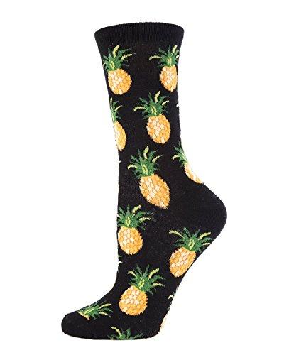 (MeMoi Pineapple Fruit Bamboo Crew Novelty Socks Black MWN00121 One Size )