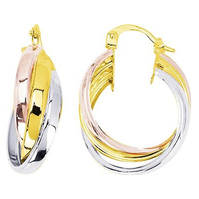 So Chic Bijoux © Boucles d'oreilles Femme Créoles Tricolores Triples Anneaux Larges Croisés Fil Arrondi 19 mm Or Jaune Blanc & Rose 750/000 (18 carats)