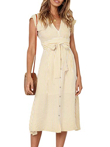 Miessial Women's Striped Linen Long Dress Elegant Ruffle Cap Sleeves Midi Dress (8, Yellow) ()