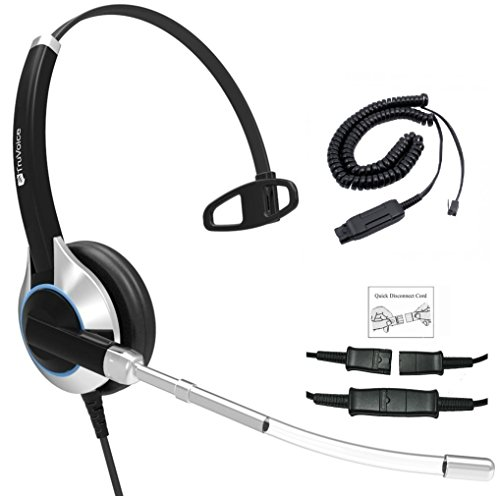 Deluxe Single Ear Headset with Noise Reduction Voice Tube & HIS Cable for Avaya IP 1608, 1616, 9601, 9608, 9611, 9611G, 9620, 9621, 9630, 9631, 9640, 9641, 9650, 9670, J139, J169 and J179 Phones Duo Set Voice Tube