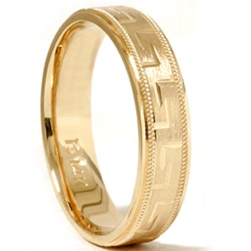 Hand Carved Wedding Band 14K Yellow Gold (Hand Carved Wedding Band)