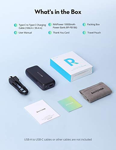 RAVPower Portable Charger, Most Compact 10000mAh Power Bank, with 20W PD/QC USB C Output & Premium Battery Pack, Ultra Compact Design for iPhone 8/11/12/XS/XR/XS Max, Galaxy, Pixel 3/3XL, and More